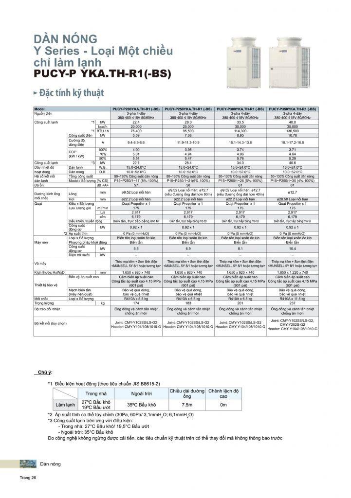 May lanh trung tam Mitsubishi Electric PUCY-P YKA (-BS) P200 - P350