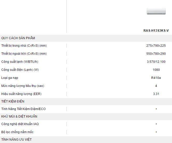 May lanh Toshiba RAS-H13S3KS-V - thong so ky thuat
