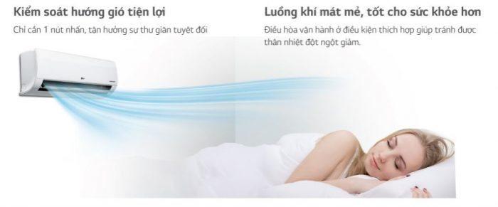 may lanh treo tuong LG - huong gio de chiu